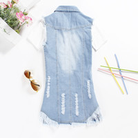 Wholesale Women Blue Jean Vest - Wholesale-vest 5XL Summer Style Blue Jean Vest Women Chalecos Mujer 2015 Denim Tassel Vest Jacket Colete Feminino Long Waistcoat Plus Size