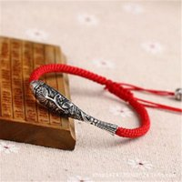 Sterling Silver Fish Lucky Red Rope Shambala Bracelet Handmade Bangle Wax String Amuleto Jóias