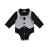 erkekler için siyah kravat toptan satış-Papyon ile 3M-24M Siyah Bebek Boys Komik Beyefendi Bodysuit