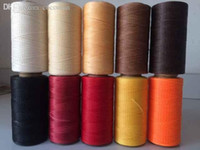 Wholesale Sew String - Wholesale-Free shipping 19 colors 260 meters flat wax string, waxed thread for sewing, leather DIY thread, leather line