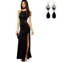 Wholesale Evening Dress Cheaper - Cheaper + Free Gift Women's Sexy Long Dresses Lace Backless Bodycon Split Evening Party Cocktail Clubwear Long Dress Party dress
