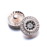 Wholesale metal snap flower buttons resale online - 10PCS Snap Jewelry Crystal Rose Gold Flower Metal MM Snap Buttons Fit DIY OEM Snap Bracelets For Women