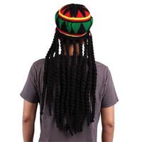 Wholesale Jamaican Reggae Hat - Novelty Adult Mens Jamaican Rasta Hat Funny Knitted Beanies Wig Bob Marley Caribbean Reggae Braids Cosplay Caps Gifts