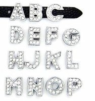 """Wholesale 8mm Key Chains - 8MM Full Rhinestone Slide Letters """"U-Z Can Choose Each Letter"""" (20PCS lot) For DIY Phone Strips & Key Chains"""