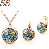 Wholesale Earrings Gold 24k Wholesale - Wholesale-SparShine Jewelry Sets with women necklaces drop earrings 2015 24K Gold Plated multicolor Natural Round african costume Crystal
