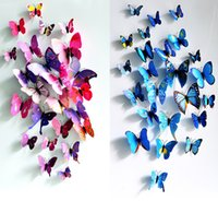 Wholesale Wall Cling Decoration - 2016 Butterfly decoration stereo simulation 3D wall stickers curtain fridge sticks 12Pcs lot for living room and wedding room
