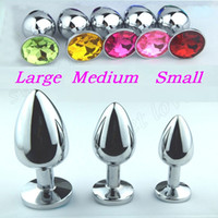 Wholesale Dildo Insert - Beginner Anal plug Metal Large Medium Small Big butt plug dildo Jewelry Buttplug Insert Beads Jeweled sex toys for woman penis prostate
