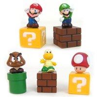 Wholesale Super Mario Koopa Troopa Toys - Super Mario Bros 5pcs set Mini Figures Bundle Blocks Mario Goomba Luigi Koopa Troopa Mushroom PVC Toys Doll