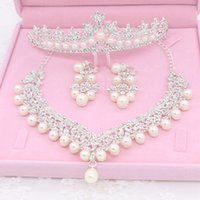 Wholesale Earings Designs - Best Sale Bridal Tiaras With Rhinestone Faux Pearls Shining Design Necklace And Earings Bridal Accessories Wedding Jewelry Set WW029