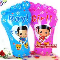 Wholesale Girls Feet Decoration - Large boy girl big feet aluminum foil balloon child birthday decoration balloon 20pcs lot free shipping