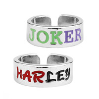 Wholesale Black Costume Jewelry Rings - Letter Opening Couple Ring Suicidal Team Harley Quinn Joker Ring fashion wear accessary for lovers free shipping