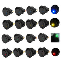 Wholesale Toggle Switches Cars - New Led Dot Light 12V Car Auto Boat Round Rocker ON OFF Toggle SPST Switch 4 colors to choose