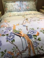 Wholesale king size peacock bedding - Wholesale-Peacock print bedding set king size floral sheets duvet cover bed linen queen full double quilt bedspreads 100% cotton 60 thick