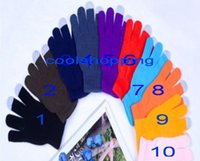 Wholesale Knit Glove Iphone - DHL Freeshipping Knit Wool Touch Gloves for iPhone Touch Screen Gloves for iPad