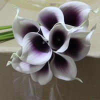 Display Flower black bridal bouquets - Artificial flower Real touch Picasso purple artificial flowers mini calla lily Bouquet For Wedding flowers Bridal centerpieces Decoration