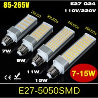 Wholesale G24 Led Dimmable - 100PCS 7W 9W 11W 15W E27 G24 Aluminum Casting Horizontal Plug light Non-Dimmable AC85V-265V 110V 220V SMD5050 LED Bulb 25 35 44 60LEDs