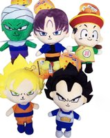 Atacado-5pcs / set 18 centímetros Anime Dragon Ball Z Plush Doll Toy Son Goku Vegeta Gohan Piccolo Trunks Dolls Brinquedos enchidos crianças Presente