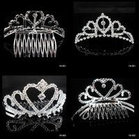 Wholesale Dazzling Crown Princess Tiara - In Stock 2015 Free Shipping Rhinestone Dazzling Crown Homecoming Party Wedding Bridal Accessories Princess Tiaras Hair Claws Free Shipping