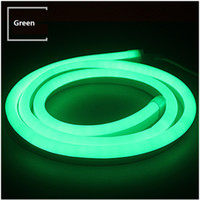 Wholesale neon flex tubes resale online - 50 meters led neon flex tube V input led meter Flexible tube Green color with power cord end cap and mounting clips