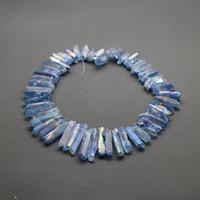 Wholesale Crystal Briolettes - 1 Strand(56pcs) Titanium Crystal Quartz Rock Crystal, Raw Freeform Spikes Points Drilled Briolettes, 15.5 Inch Rainbow Blue Women Necklace