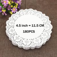 """white paper placemat Australia - Wholesale- 180PCS 4.5"""" White Round Lace Paper Doilies   Doyleys,Vintage Coasters   Placemat Craft Wedding Christmas Table Decoration"""