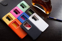 Wholesale Optimus Windows - Wholesale-High quality Auto Sleep\Wake for LG optimus G2 D802 luxury cover back brand smart View window PU Flip leather case cases