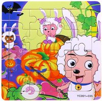 Wholesale Big Toy Goat - Wholesale-New 2015 Action toys Wood puzzle 16PCS baby's gift Early learning toys and children's product-Pleasant Goat and Big Big