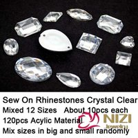 Wholesale Flatback Stones - Wholesale-Sew On Rhinestones Mixed 12 Shapes 120pcs Flatback Acrylic Rhinestones Crystal Clear Stone For Dress Making Sew On Rhinestones