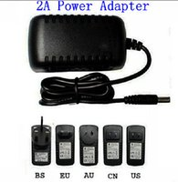 Wholesale Dc 12v 2a Adapter Uk - x20pcs AC 100-240V to DC 12V 2A 5.5 x 2.5 mm EU US UK AU Plug DC Power adapter charger Power Supply Adapter 3528 transformer adapter