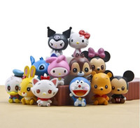 Wholesale Winnie Pooh Toys Wholesale - hot sale Cute Cartoon HelloKitty Doraemon minnie Mickey Mouse Stitch Winnie the Pooh PVC toys Collectible Action Figure doll toy12 style