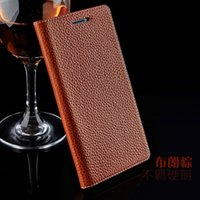 Wholesale Handmade Book Covers - For Lenovo PHAB Plus PB1-770N PB1-770M 6.8 Phone Luxury HandMade Genium Leather Lichee Style Case Flip Book Cover Back Cover