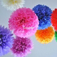 Wholesale Hanging Paper Flower - (12 PCS)Wedding Decoration Pompon 30CM Paper Birthday Party New Year Hanging Pompons Flowers Natal Christmas Casamento Pompoms