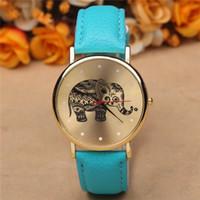 Wholesale analog print - 10 pcs lot 2015 women elephant design flower printing ladies leather PU wrist watch fashion dress quartz watches