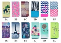 Wholesale Aztec Tribal Iphone - Flower Aztec Tribal leather case for iphone 6 6G 4.7 Wave OWL Tower Leather Wallet Pouch Credit Card Slots Cover