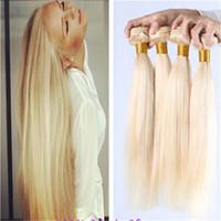 "Wholesale Cheap Hair Extensions China - Blonde #613 Malaysian Virgin Hair Straight 8""-30"" Cheap Human Hair Extension hair weft, made in china"
