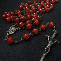 Wholesale Glass Rosary Necklace - Wholesale-Beautiful Red Divine Mercy Glass Beads Rosary Retro Bronze Chain Necklace Cross Pendant