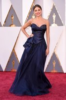Wholesale Sofia Vergara Dresses - Sofia Vergara in Marchesa 2016 Oscar Celebrity Dresses A Line Sweetheart Ruched with Ruffles Satin Organza Pageant Gowns