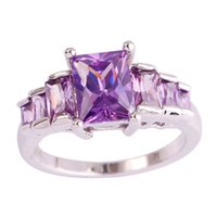 Wholesale Emerald Cut Amethyst Ring - Wholesale-Wholesale Lady Twinkling Party's Emerald Cut Amethyst 925 Silver Ring Size 6 7 8 9 10 Love Style New Gift Jewelry Free