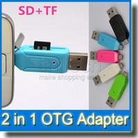 handy-leser großhandel-Sd + micro sd usb otg kartenleser universal micro usb otg tf / sd kartenleser micro usb otg adapter für samsung s4 s5 s6 android handy