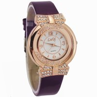 Gros-Purple Fashion Genève femmes Fille Mesdames Pu cuir rayures Bracelet strass Montres