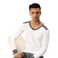 Wholesale Mens Underwear Single - Wholesale-High Quality Brand Cueca Thermal Underwear Lycra Cotton Thin Render Mens Underwear Long Single Piece V neck undershirt Fashion C