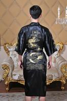 mavi kimono toptan satış-Shanghai Hikaye yeni varış Çinli erkek Saten Polyester Nakış Robe Kimono Gecelik Ejderha Pijama M L XL XXL 3XL Mavi Siyah