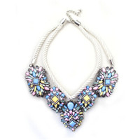 Wholesale Sumni Necklace - 1pcs lot SUMNI brand color twist rope multilayer droplets flash diamond necklace short paragraph necklace jewelry