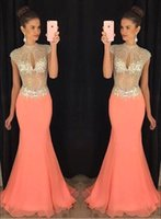 Wholesale Coral Dress Beaded Bust - 2017 Coral Mermaid Prom Dresses Cap Sleeve Bling Bling Rhinestone Keyhole Bust Chiffon Evening Dresses Illusion Bodice Formal Evening Gowns