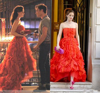 Wholesale Gossip Girl Blair Red Dress - Sexy Strapless Hi-Lo Prom Dress Blair Jenny Packham Gossip Girl Dresses Red Ruffles Train Formal Party Evening Gowns Court Train Custom Made