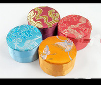 Wholesale Small Earring Case - Small Floral Round Craft Box for Jewelry Storage Case Decorative Packaging Silk Brocade Cardboard Jewelry Earring Necklace Gift Boxes