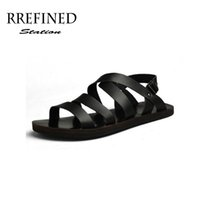 Wholesale Platform Strappy - Wholesale- Men's Summer Brand Sandals Slippers New 2016 Genuine Leather Platform Beach Strappy Slippers Free Shipping Discount SIZE 38-43