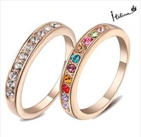 Wholesale Swarovski Rings Rose Gold - Italina New Arrival Ring For Woman With Swarovski Crystal Stellux 18KGP Rose Gold Plated #RG91645 wedding rings