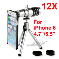 Wholesale Telescope Lens Case - Newest mobile phone 12x Zoom optical lens Telescope Camera telephoto Lens with phone case For Apple iPhone 6   6 plus