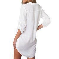 Wholesale Mini Chiffon Shirt - Sexy Summer Women V Neck Chiffon Dress Casual Long Sleeve Loose Mini Short Shirt Dresses Irregular Vestidos Plus Size S-3XL